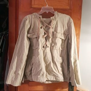 Free People Bell Sleeve Tie Front Utility Jacket